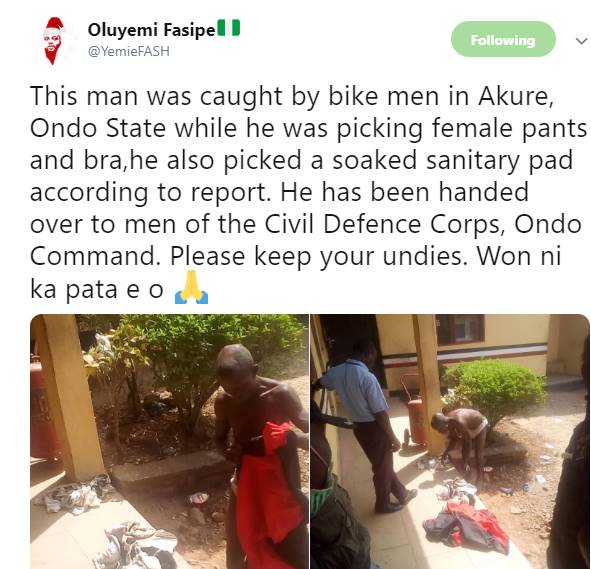 Man caught with female pants, Man caught with female pants, bra and soaked sanitary pad in Ondo (photos)