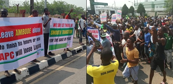 Breaking: Governor Ambode's supporters stage protest at Lagos Assembly over planned impeachment
