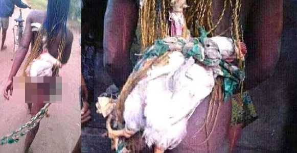 Anambra residents strip lady naked over N2000 stolen chicken (photos)