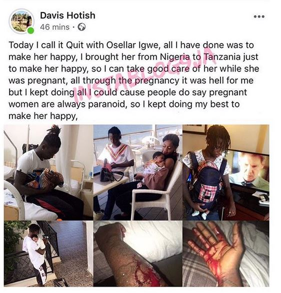 #ViralNow: Nigerian man dumps his babymama for stabbing him, a month after they became parents 1
