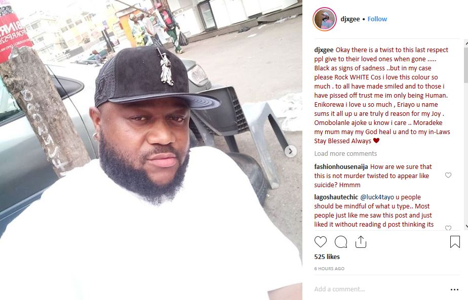 Nigerian DJ XGee commits suicide over marital issues, Nigerian DJ XGee commits suicide over marital issues