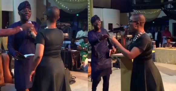 Drama between Lagos APC governorship candidate, Sanwo-Olu and a questioner at an event (Video)