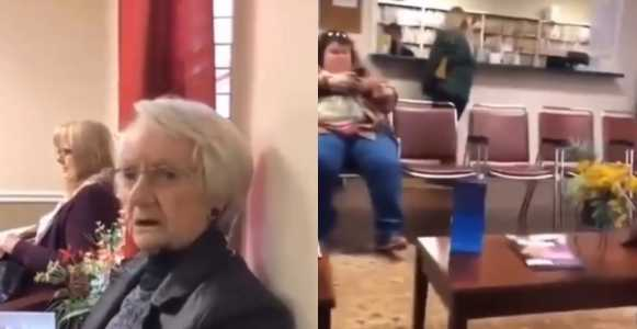 Elderly racist woman abuses black woman and tells her that she originated from a monkey (video)