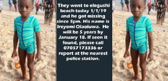 Photo: Four year old boy goes missing while celebrating New Year's day with his family at Elegushi beach
