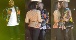Watch moment Davido shared deep kiss with Chioma on stage during London concert