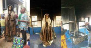 Woman sets statue of Virgin Mary ablaze at a Catholic Church in Enugu (Photos)