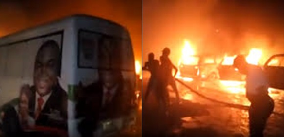 BREAKING: PDP campaign vehicles set ablaze in Enugu (VIDEO)