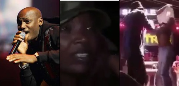 Female Fan Goes Gaga, Removes Her Top To Hug Tuface On Stage, Watch Annie Idibia's Reaction