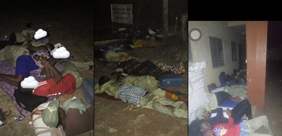 INEC Ad-hoc Staff, Corpers Sleeping Outside Its Premises (Photos) #NigeriaDecides2019