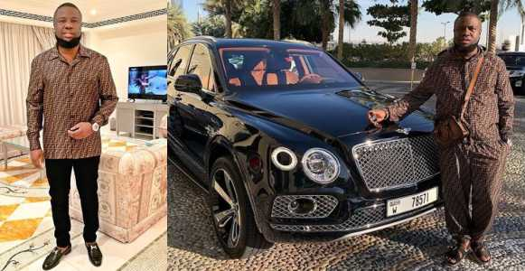 Billionaire Gucci master, Hushpuppi, sets another record as he becomes the first Nigerian to buy himself a Bentley for Val