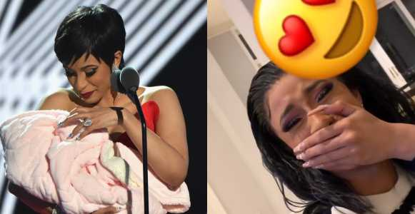 Cardi B cries as baby, Kulture says 'Mama' for the first time (Video)