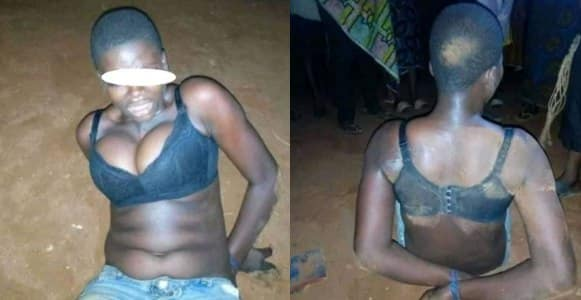 Female robber arrested as boyfriend abandons her during operation in Edo State (Photos)
