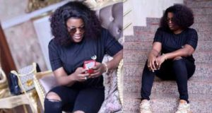 Funke Akindele Bello shows off her post-baby body 2-month after giving birth to a set of twin boys (Photos)