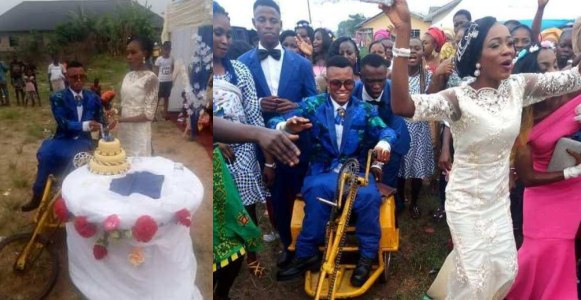 Lady excited  as she weds her physically challenged husband in Delta state (Photos)