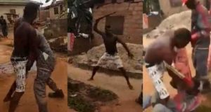 Man fights staff of Ikeja Electricity Distribution Company (IKEDC) with a machete in Lagos (Video)