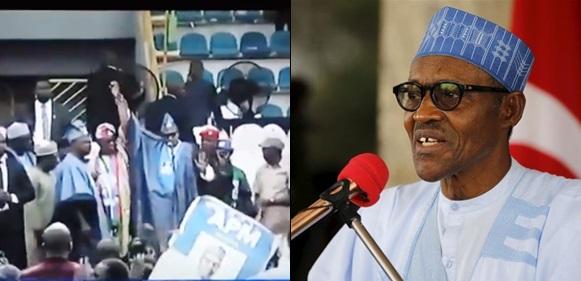 President Buhari, Oshiomhole, Stoned At Abeokuta, Ogun state APC Rally (Video)