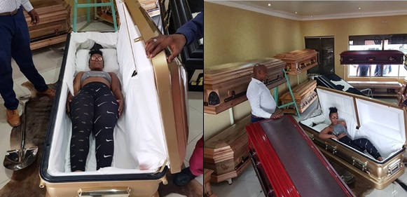 South African 'Pantless Dancer' Wabantu Buys Herself A 150k Coffin Ahead Of Her Death, Shares Photo Of Herself Posing Inside