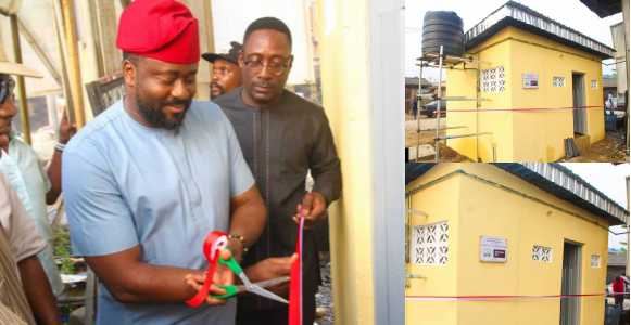 Nigerians blast Desmond Elliot after commissioning a public toilet (Photos)