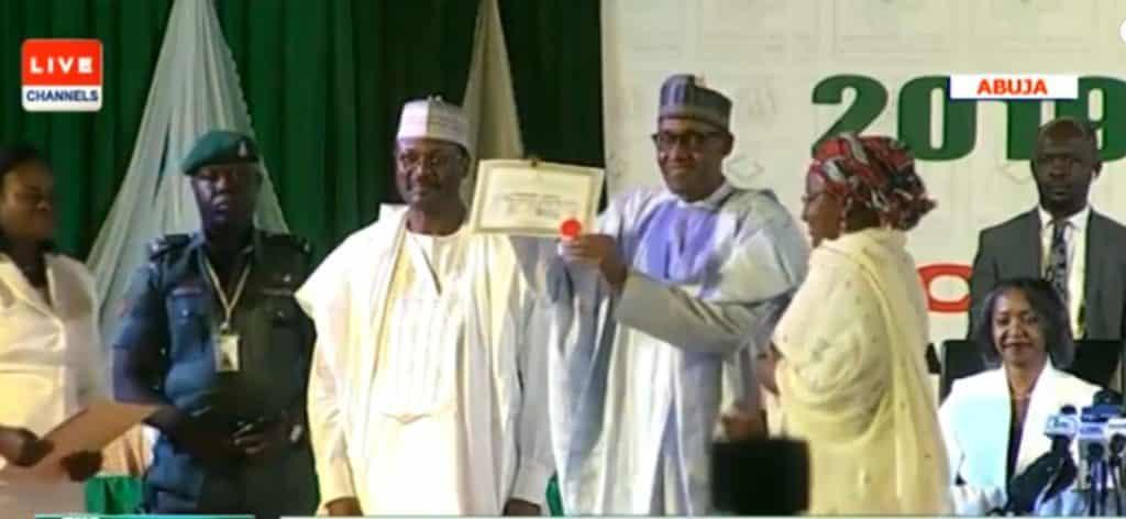 INEC presents Certificate of Returns to Buhari, Osinbajo