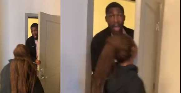 See man's reaction after his girlfriend flew from the UK to surprise him for Valentine's Day (video)