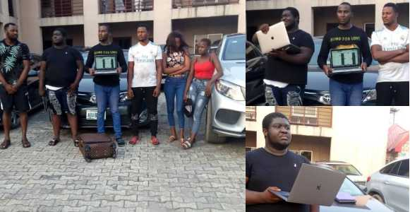 Six suspected internet fraudsters including two females arrested by EFCC operatives (Photos)