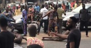 Jungle Justice: Suspected kidnapper stripped, beaten, and paraded by angry mob (video)