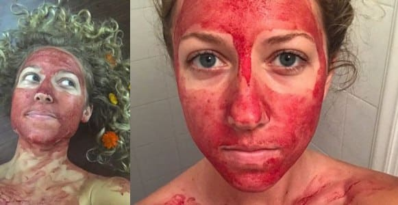 Woman covers her face in menstrual blood to show they're 'beautiful' (Photos/Video)