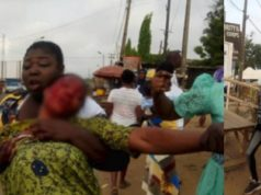#NigeriansDecide2019: Woman stabbed in a fight at a polling unit in Osun State (Video)