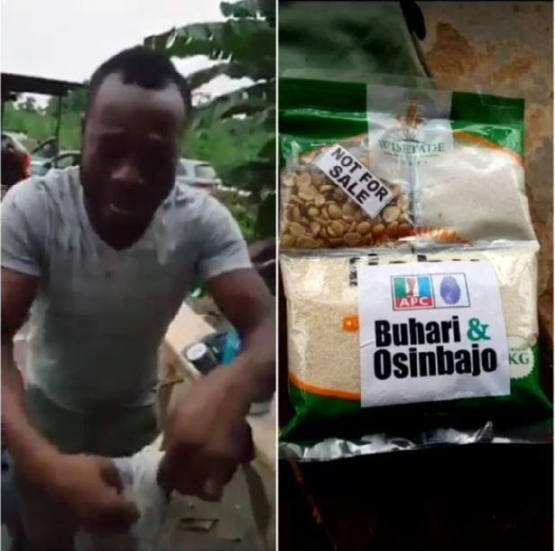 #ViralNow: Nigerian man shed tears after receiving APC 'Next Level' garri (Photos) 2