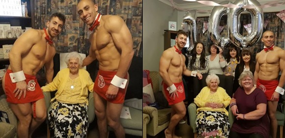 Great-great grandma celebrates 100 years birthday with male strippers