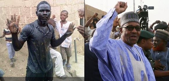 Man Dunks Into Gutter To Celebrate President Muhammadu Buhari's Re-Election