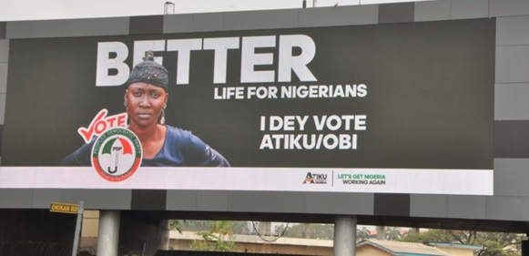 Atiku Abubakar allegedly steals Woman's image for his campaign adverts across the country