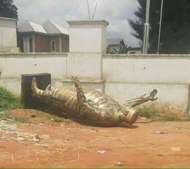 Okorocha's statue falls in Imo state