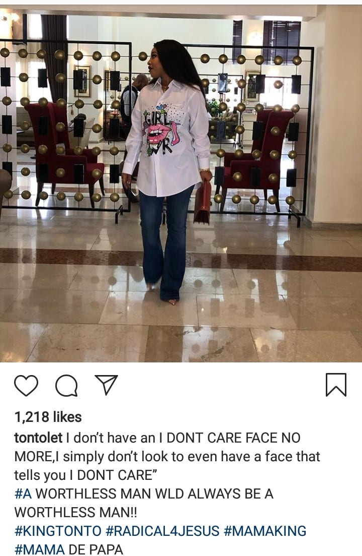 """""""A worthless man would always be a worthless man"""" – Tonto Dikeh throws shade"""