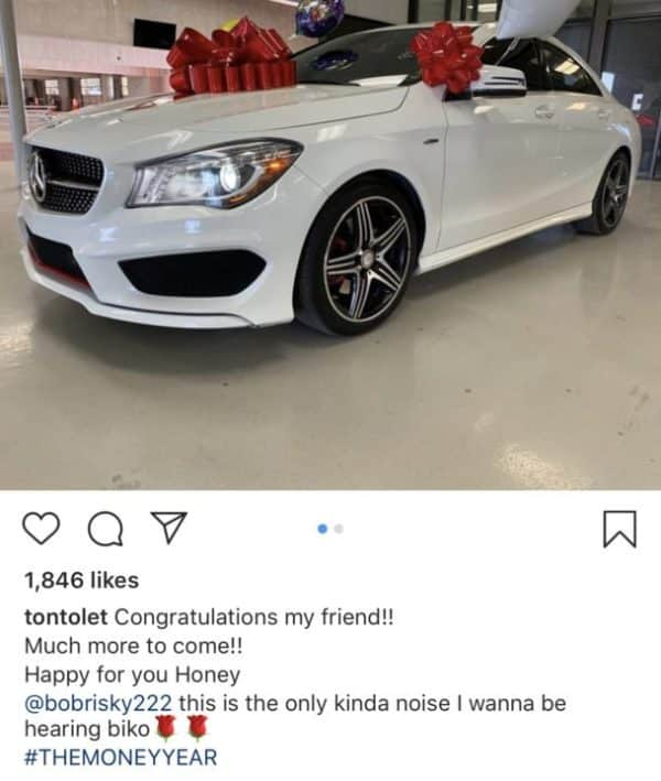 Tonto Dikeh shows off Bobrisky's new Mercedes-Benz (Photos
