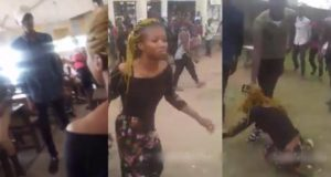 Man publicly beats up his girlfriend for dumping after he paid her school fees (Video)