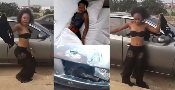 Ghanaian slay queen involved in a car accident, months after flaunting her new ride