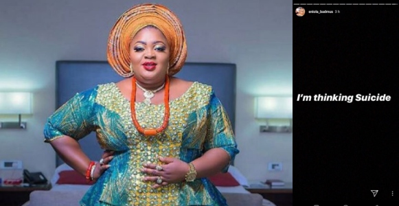 """I'm thinking of suicide"" - Actress, Eniola Badmus shares disturbing post"