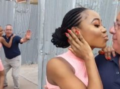 Lady flaunts her older Oyinbo boyfriend who is taking her to New York (Video)