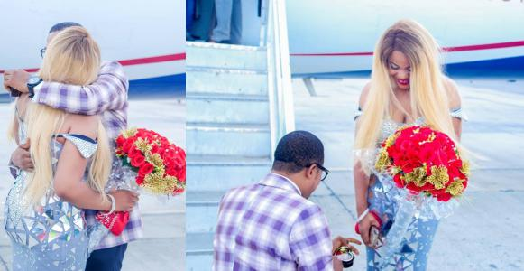 Man proposes to his girlfriend on Asaba airport tarmac (Photos)