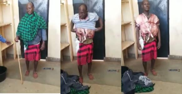 Man steals, slaughters and wears a goat as vest to conceal the act (Video)