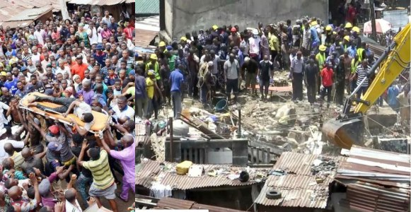 Man threatens to kill himself after losing 3 kids in the Lagos school building collapse