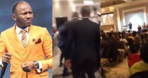 Man verbally attacks Apostle Johnson Suleiman as he preached in a church in Canada (Video)