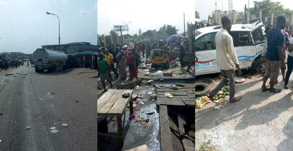 Many killed as trailer loses control in Anambra (Photos/video)