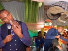 Popular Pastor kills, eats animal raw during church service (Photos)