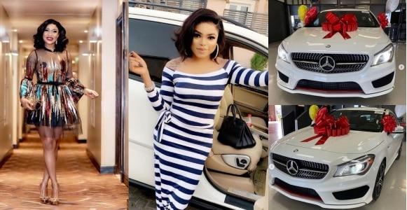 Tonto Dikeh shows off Bobrisky's new Mercedes-Benz (Photos)