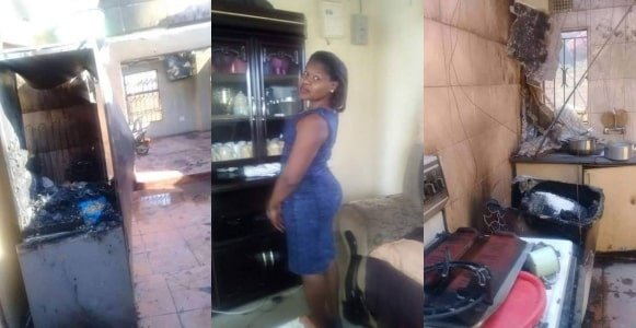 Wife sets house on fire after hubby brought in a pregnant woman (Photos)