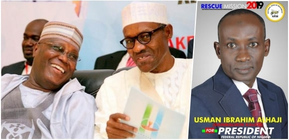 Mr Usman Ibrahim-Alhaji, the presidential candidate of the National Rescue Movement, Atiku, Buhari