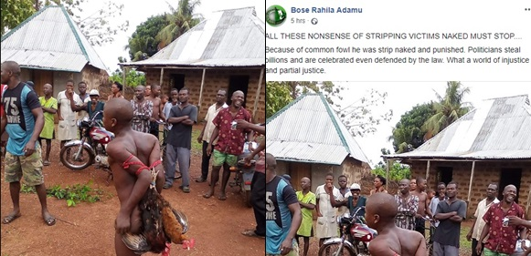 Chicken thief is stripped naked, bound and paraded for theft
