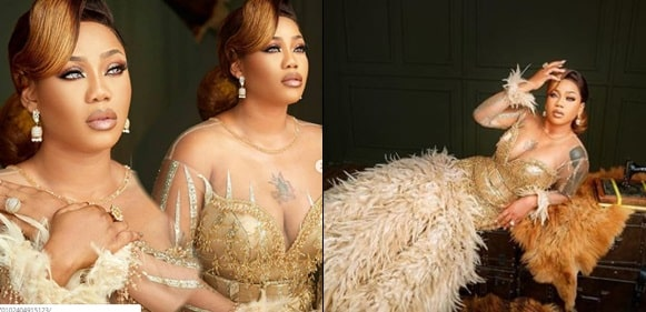 Toyin Lawani Glitters In Gold As She Celebrates 37th Birthday Today